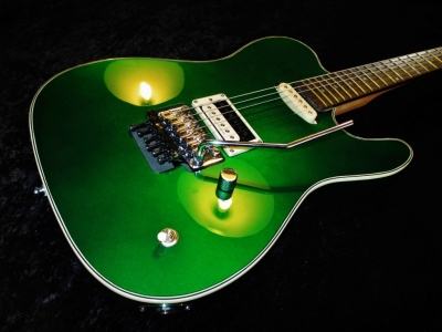 Rees Custom Tele Candy Green Bindings Floyd Rose Custom Heel