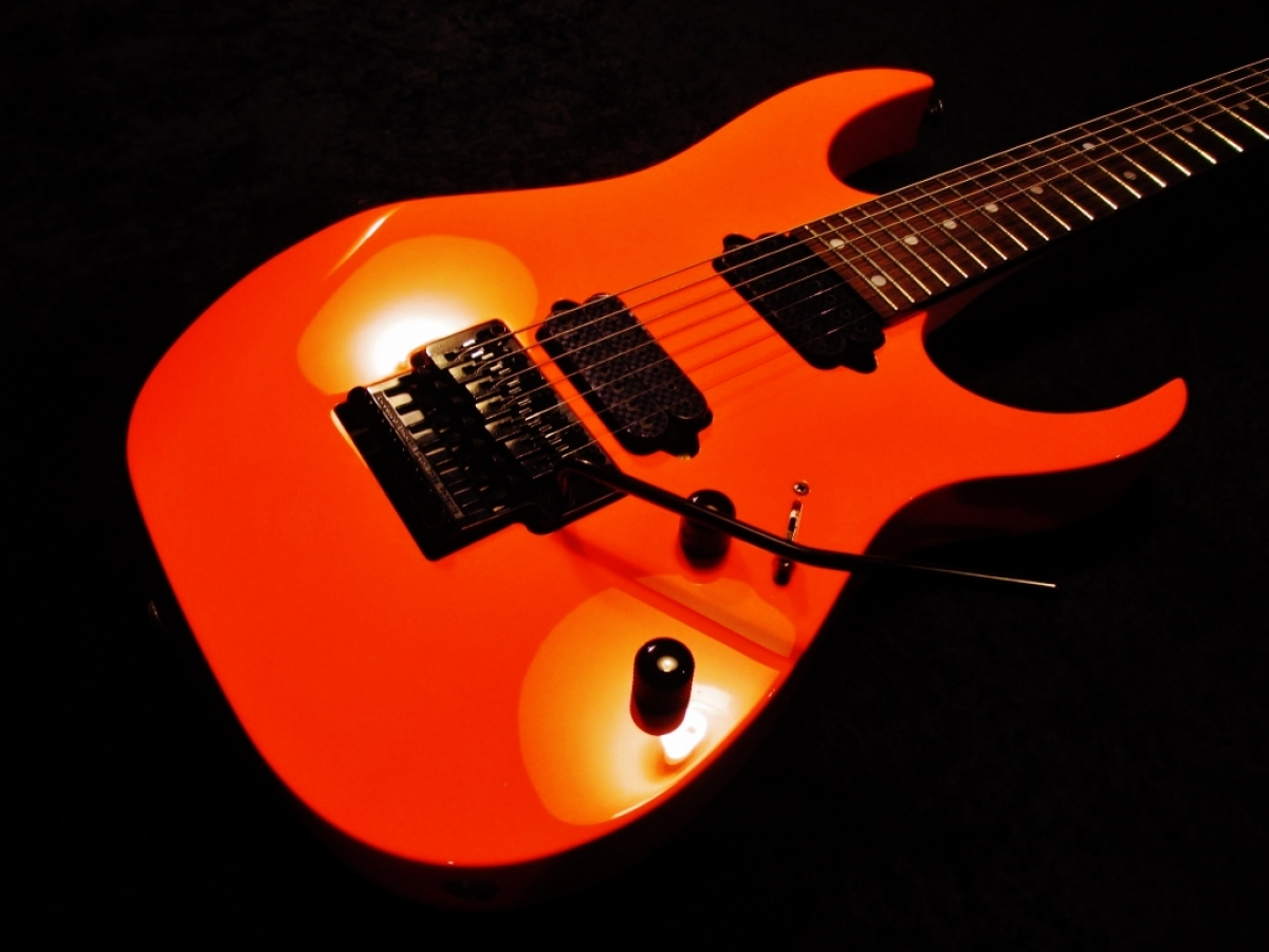 Ibanez 7 String Custom Neon Orange Paint