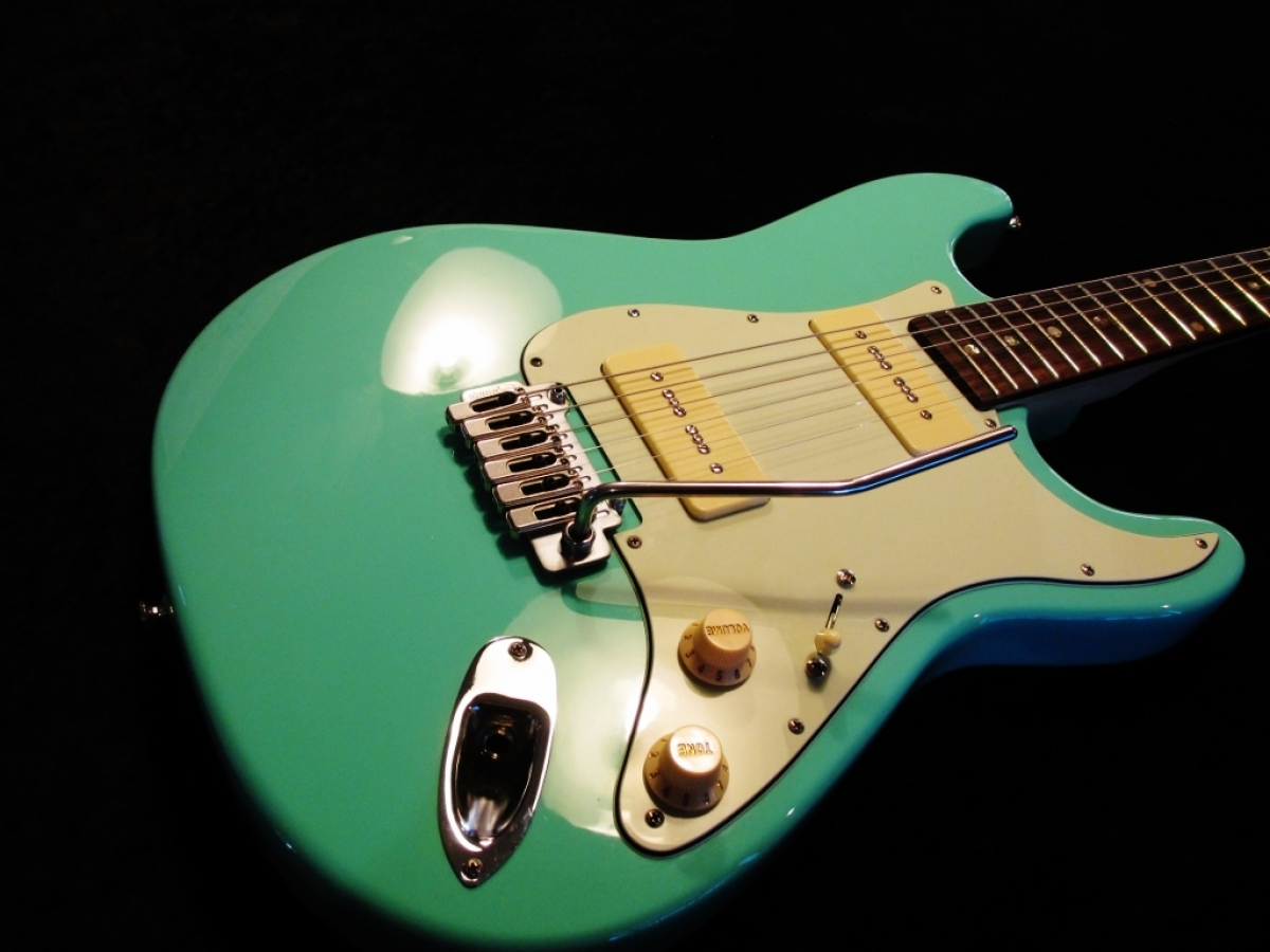 Rees Custom Seafoam Green MOP dot inlays P-90's Wilkinson Bridge