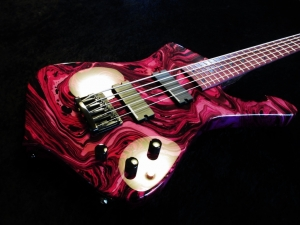 Custom Iceman 5 String Bass Pink Swirl Paint Purple Heart Fretboard