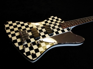 Thunderbird Bass Chequered Custom Paint White Pearl Handmade Mirror Scratch Plate